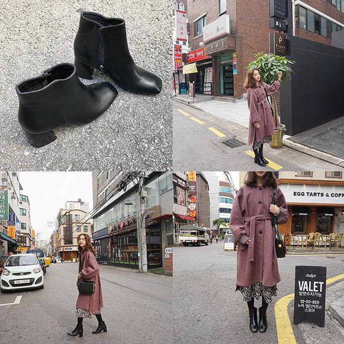 馨幫幫 複古方頭黑色粗跟短靴