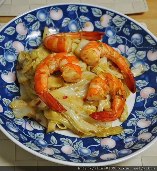 酸辣蝦炒高麗菜