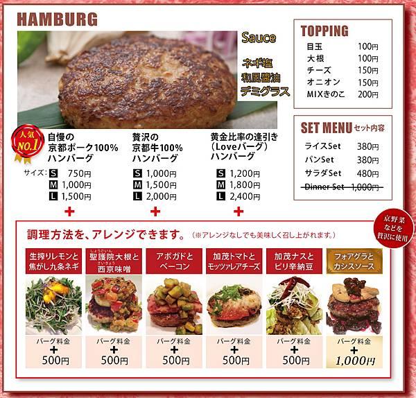 漢堡肉菜單