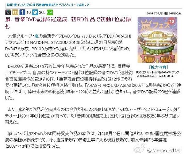 嵐「アラフェス'13」DVD&Blu-ray総合W首位獲得!音楽BD初動記録も達成.JPG