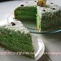 香蘭戚風蛋糕與椰糖咖呀霜飾切片