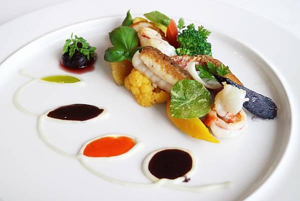 船釣海魚,北海道干貝,澎湖明蝦,巨峰葡萄紅酒醬汁