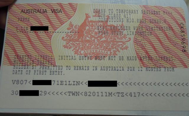 澳洲的簽證貼紙