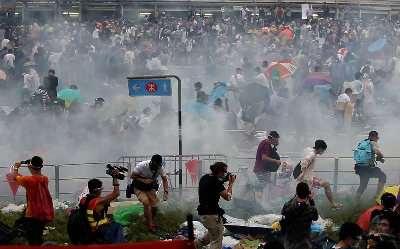 On Sunday, police fired tear gas
