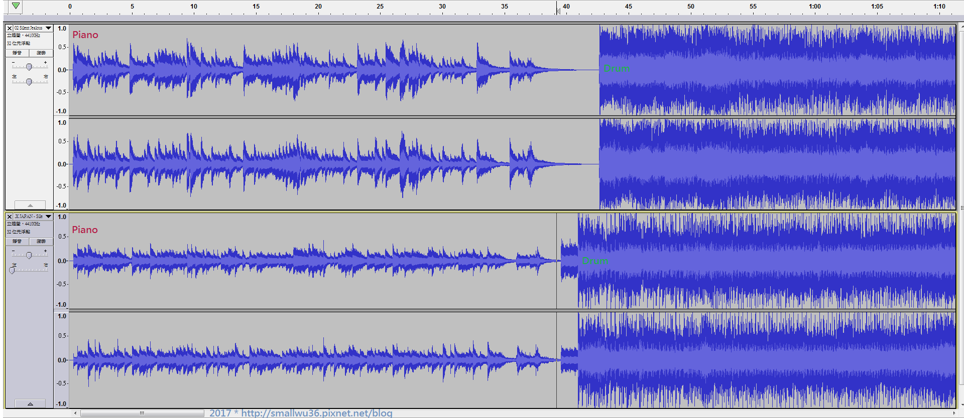 002 雖然個別音符的快慢不同,但基本上前奏的速度 2者差不多 (2)