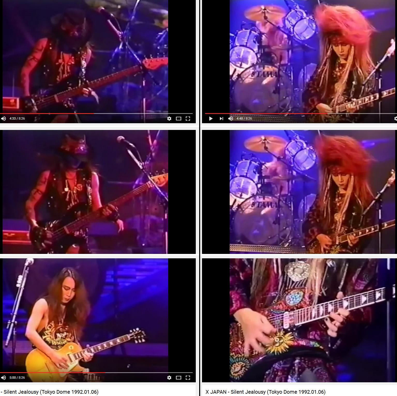X JAPAN - Silent Jealousy (Tokyo Dome 1992-01-06)  東京巨蛋 Hide 和 Pata 和 Taiji
