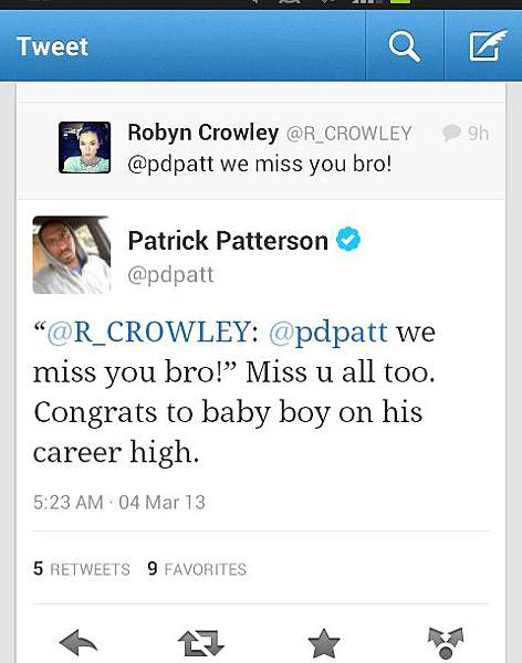 帕特森推上說想大家也恭喜帕森斯好表現