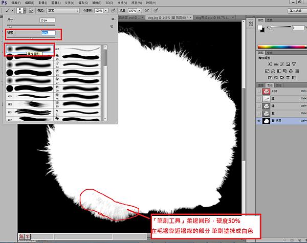 5.筆刷工具 柔邊圓形,硬度50%,在毛邊靠近邊緣的部分,筆刷塗抹成白色.png