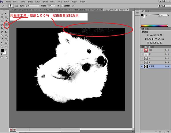 3.調整好色階,畫面如下:但仍有背景 白濛溕,就需用到鉛筆,硬度100擦拭.png