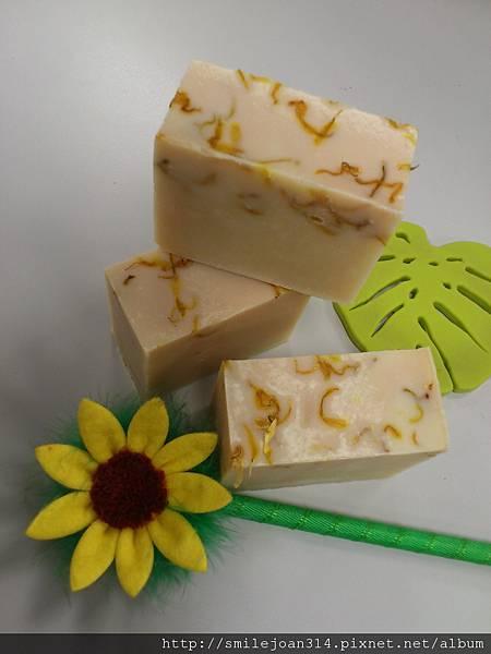 金盞花粉紅豆漿皂