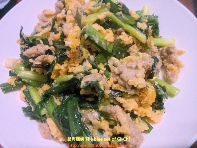 韭菜肉末炒蛋