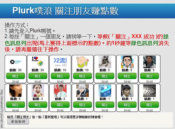 13. Plurk關注朋友賺點數