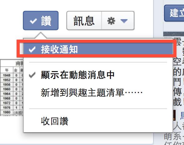 Facebook 接收通知