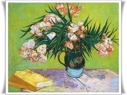 花瓶中的夾竹桃與書 Oleander