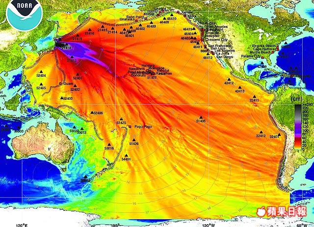 日本9.0大地震.海嘯高度圖.2011年3月11日