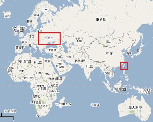 烏克蘭與台灣距離