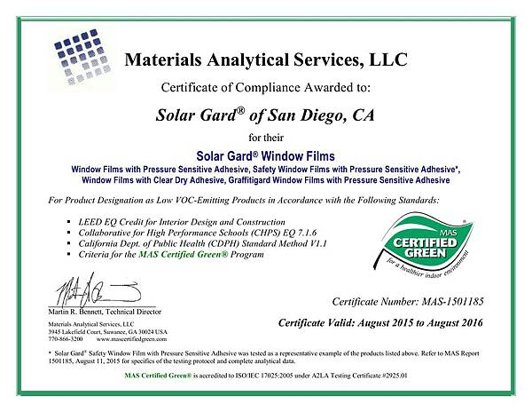 Solar Gard MAS Certified Green Certificate of Compliance 2015-16