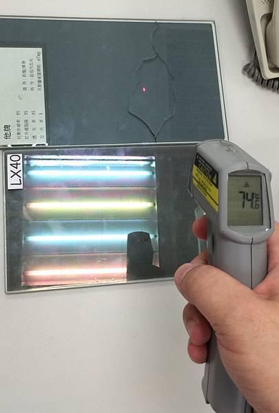 FSK45玻璃測試後溫度