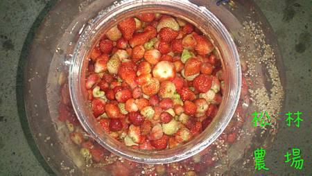 草莓放進瓶子