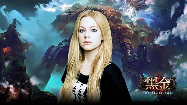 04-自然妝容的艾薇兒搭上重金機甲背景,完美詮釋《黑金》雙面魅力