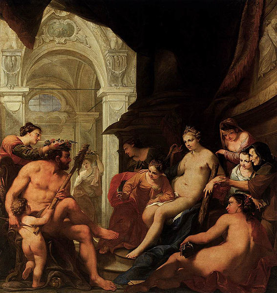 海格力斯和歐斐爾 Heracles and OmphaleHercules in the Palace of Omphale_貝魯奇 Antonio Bellucci