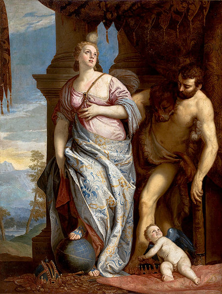 海格力斯和歐斐爾 Heracles and OmphaleThe Choice of Hercules or Hercules and Omphale_維洛內些Paolo Veronese.jpg