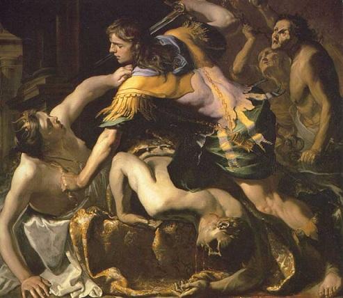 俄瑞斯特斯弑母 Orestes slaying Aegisthus and Clytemnestra_ 巴藍迪諾 Bernardino Mei