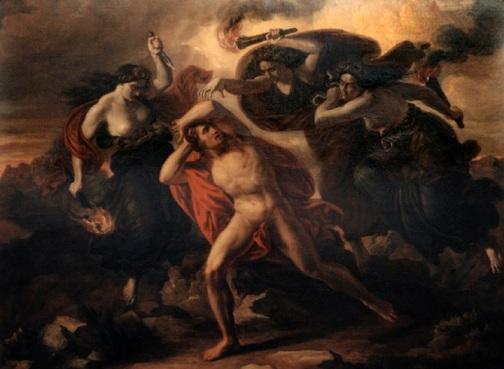 遭復讎女神追捕的俄瑞斯忒斯Orestes chased by the Erinyes_卡爾 Carl Rahl