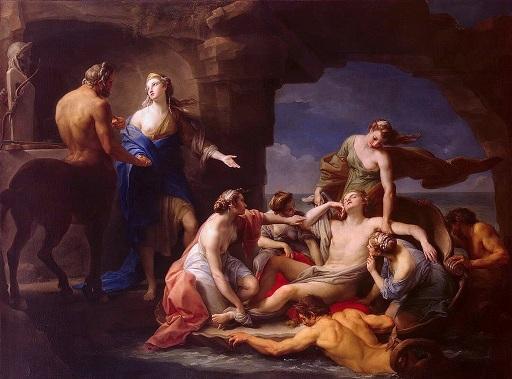 將阿基里斯送去半人馬神凱隆處 Thétis retire Achille à Chiron _ 巴托尼 Batoni Pompeo