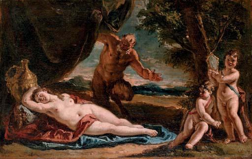 凝視著熟睡的安蒂歐普 Jupiter gazing upon a sleeping Antiope_法蘭西斯科Francesco Fontebasso