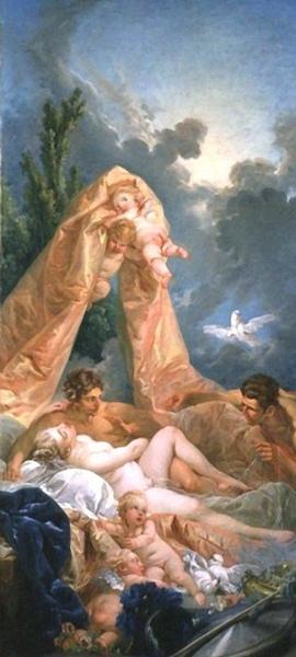 遭到伏爾甘驚嚇的維納斯和馬爾斯 Mars and Venus surprised by Vulcan_布雪 Francois Boucher.jpg