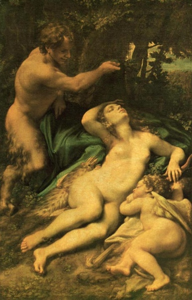 維納斯、邱比特和森林之神Venus and Cupid with a Satyrs_科雷吉歐Antonio Correggio.jpg