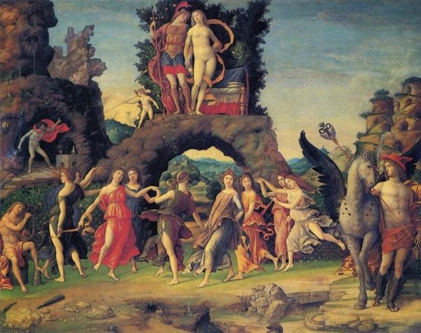 帕爾納斯山_ Parnassus正在消遣作樂的戰神和愛神,有火神和正在彈琴的歌神,還有九個跳舞的仙女_曼帖那 Andrea Mantegna.jpg