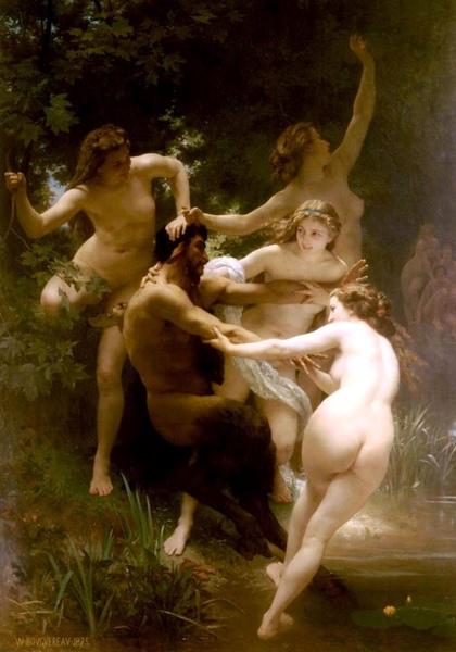 女神與森林之神薩梯 Nymphs and Satyr_鮑格雷奧 Adolphe William Bouguereau.jpg