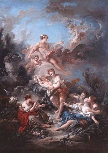 墨丘利信任水神對嬰兒酒神的照顧 Mercury Confiding the Infant Bacchus to the Nymphs of Nysa_布雪 Francois Boucher.jpg