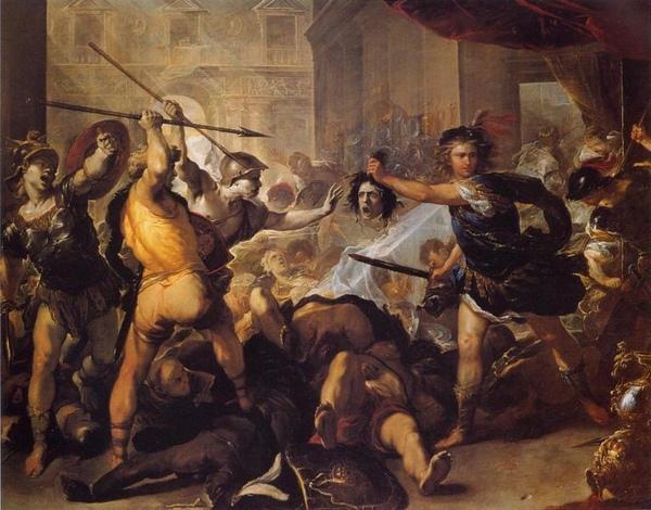 珀耳修斯把菲紐斯變成石頭 Perseus Turning Phineus and his followers to Stone_盧卡·焦爾達諾 Luca Giordano.jpg