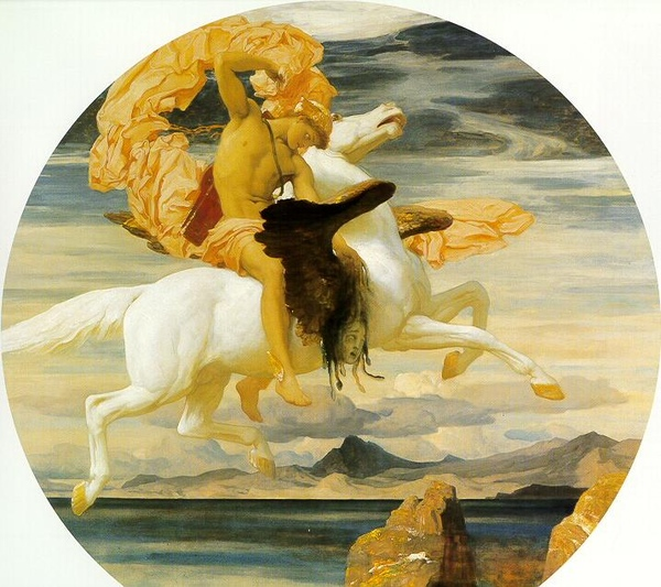 騎飛馬趕去救安朵美達的柏耳修斯Perseus On Pegasus Hastening To The Rescue Of Andromeda _弗雷德里克‧雷頓 Lord Frederic Leighton.jpg