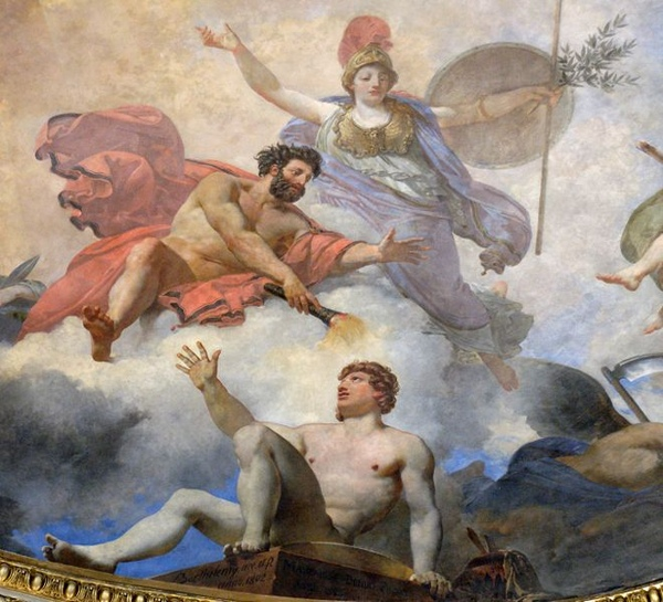 普羅米修斯智慧女神雅典娜創造了人類Prometheus creating man in the presence of Athena_吉恩西蒙Jean-Simon Berthélemy .jpg