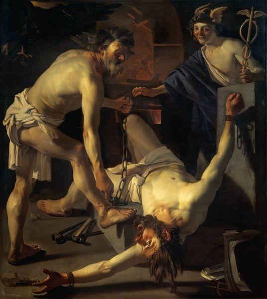 被伏爾甘鍊起的普羅米修斯Vulcan Chaining Prometheus_巴比倫 Baburen, Dirck van.jpg