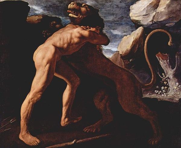 獵取涅墨亞獅子Herkules vernichtet den Löwen von Nemea_弗朗西斯科・蘇魯巴爾Francisco de Zurbarán .jpg