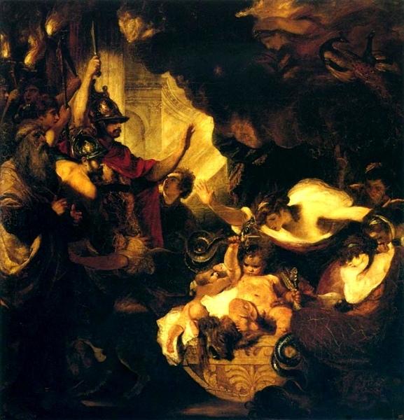 The Infant Hercules Strangling the Serpents嬰兒海格力斯勒斃巨蛇_Sir Joshua Reynolds雷諾茲爵士‧約書亞.jpg