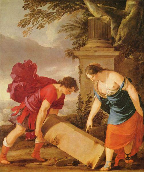 忒修斯和埃特拉Theseus und Äthra_La Hyre, Laurent de.jpg