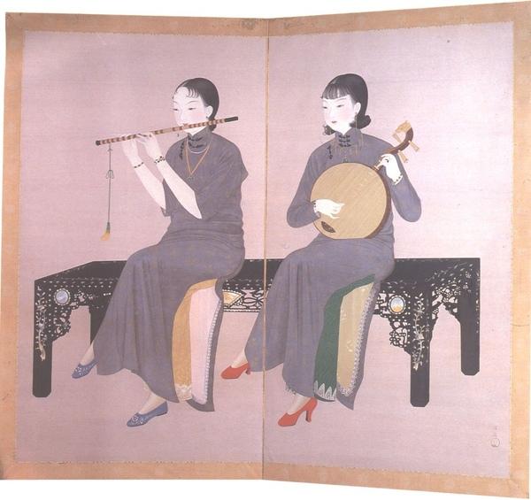 1934年的作品〈合奏〉,表現兩個婦女彈奏古代中國的樂器_陳進.jpg