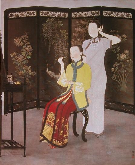 〈化妝〉是入選日本春季帝展的巨幅創作,完成於1936年_陳進.jpg