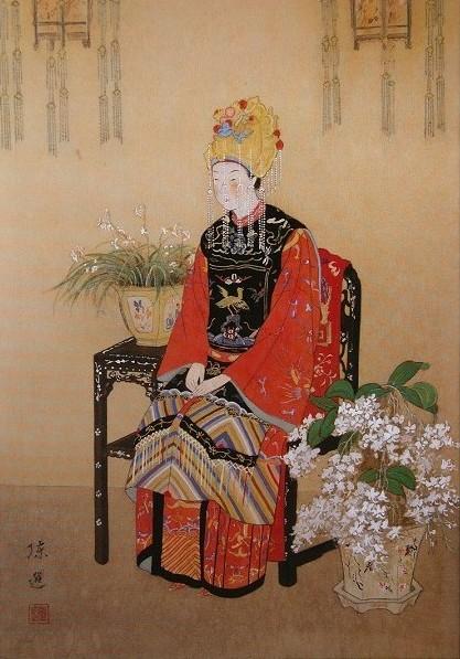 〈芝蘭之香〉創作稿 1932 年  絹‧膠彩,41 x 29 公分_陳進.jpg