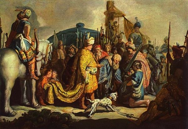 大衛拜見掃羅王 David mit Goliaths Haupt vor Saul_林布蘭特 Rembrandt Harmensz van Rijn.jpg