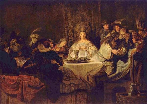 參遜的婚宴 Simson, an der Hochzeitstafel das Rätsel aufgebend_林布蘭 Rembrandt van Rijn.jpg