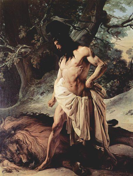 參遜和獅子Samson und der Löwe_弗朗西斯科·海耶茲 Hayez, Francesco.jpg