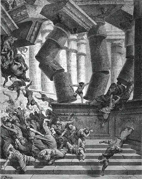 參遜赤手推倒廟柱 Samson in Dagon Temple_德里 Gustave Dore.jpg