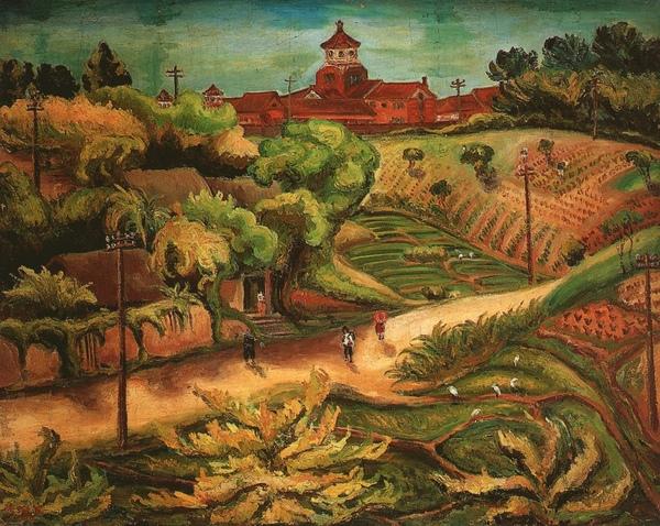 〈淡水中學〉1936 年_油彩‧畫布,91 x 116.5 公分.jpg
